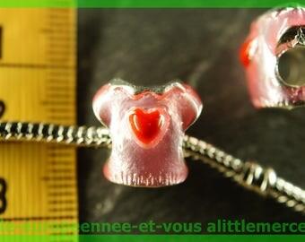 Pearl European N9 heart spacer for bracelet charms