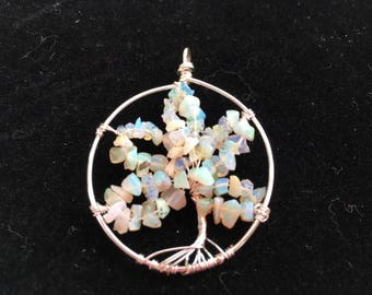 Wire wrapped Ethiopian Opal Tree of Life Pendant (light colouration)