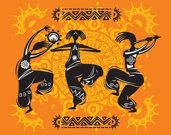 SET of TABLE rib, ORIGINAL design, WASHABLE and durable - Tribal Dance 1.