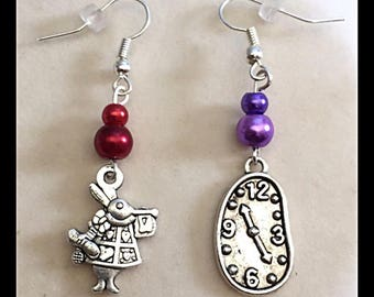 "Mismatched earrings ""rabbit and his clock"""