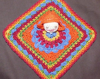 Granny square deco with crocheted face
