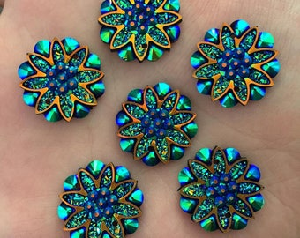 10pcs/18mm Resin flower Rhinestone Button for Wedding decoration