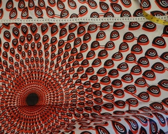 wax drops circles red clouded on ecru background