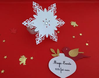 Set of 10 snowflake napkin rings - party table decoration