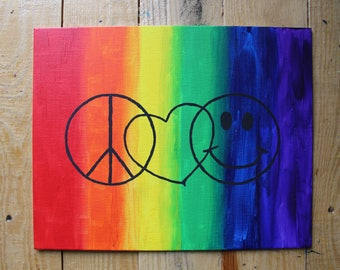 Peace Love & Happiness, Acrylic on Canvas.