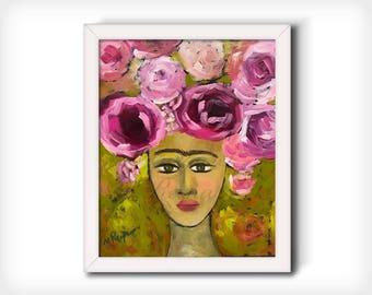 "Frida Kahlo Wall Art - Art Print from Original Painting ""Garden Dreams"""