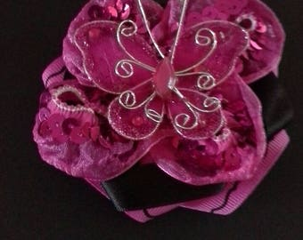 1 pink butterfly clip