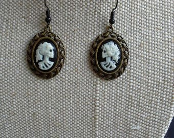 Gothic cameo earrings