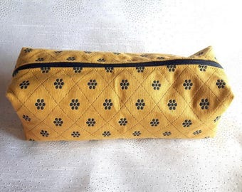Yellow and blue fabric case