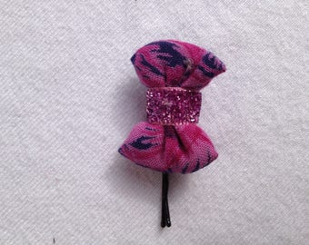 BARRETTE with knot CAPITONNE purple fabric
