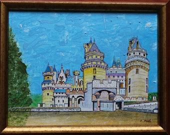 Chambord Castle: Original acrylic painting on canvas