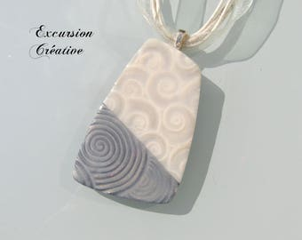 """Two-tone"" gray and white polymer clay beaded necklace"
