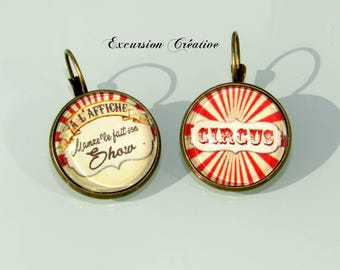 "Earrings cabochons 20 mm ""Miss made his Circus show"" - circus red and beige"