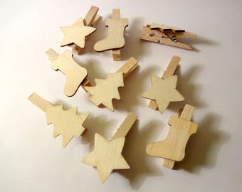 Set of 9 mini clips wood Christmas - tree, Star, boot - decoration - home decor