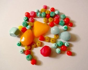 Beads and multicolored charms Fimo (x 50) - creating jewelry