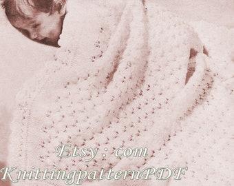 Blanket/Afghan /Christening Shawl/ Shetland Shawl / PDF Digital Download Vintage Knitting Pattern – 22