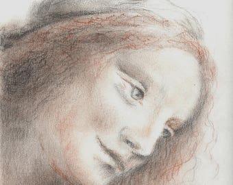 Original portrait of St. Anne by Leonardo da Vinci