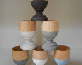 6 cups 'beginning' wood eco design hand painted.