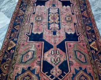 Antique Rug, Persian Hamadan Rug, Vintage persian rug, 4x7 feet, Free Shipping