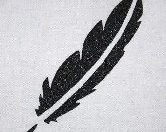 Fusible feather 100 X 25 mm black glitter
