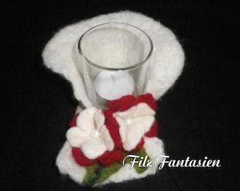 Candle lantern with felt flowers, light, lamp, lantern, tea light, felt, felted tea light holder