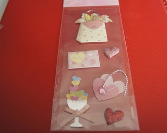 VALENTINE HEARTS 3D STICKERS
