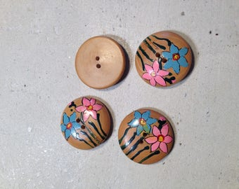 Set decorated Brown buttons