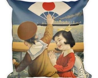 Vintage Japanese Travel Poster Pillow