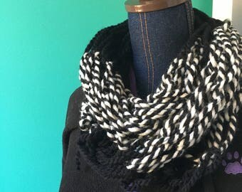 black and white classic striped infinity scarf.