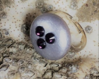Hand painted sea stone ring with Swaovski crystals and silver plated adjustable ring base