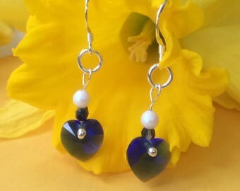 Sterling silver drop earrings with Swarovski majestic blue hearts and freshwater pearl detail