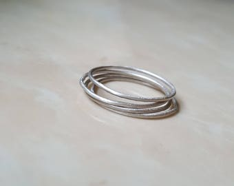 Argentium silver super thin stackable rings hammed textured matte sensitive skin stack ring rings thin sterling silver pure hypoallergenic