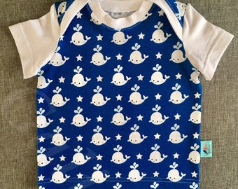 """Baby neck tee jersey """"small calves"""" American with white ribbing."""