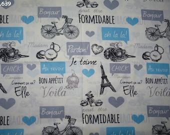Fabric C639 Paris blue/grey coupon 35x50cm