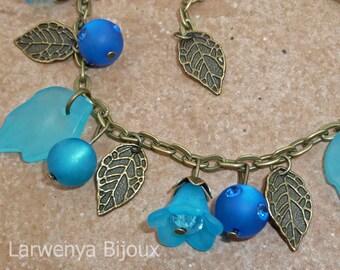 Bronze charm bracelet - Floral them turquoise...