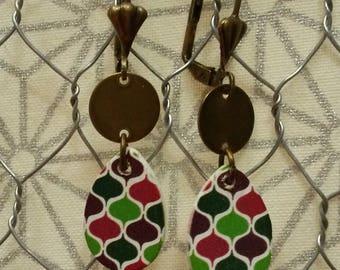 Dangling earrings, metal charms and wood