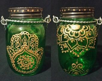 Solar Henna Mason Jar Lanterns - multiple designs/colors