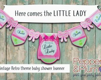 Little Lady Vintage Retro Baby Shower Banner Digital Printable Download