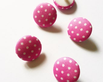 BUTTONS covered round pink polka dot white 16.5 mm COUTURE cake baby (RP8)