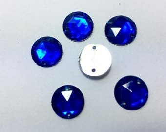 RHINESTONE round sewing 11 mm blue resin 10 rhinestones (AC8)