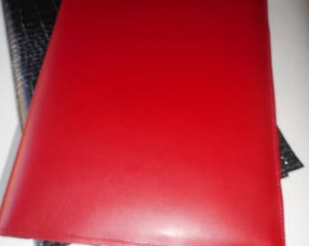 Red and black leather notebook cover