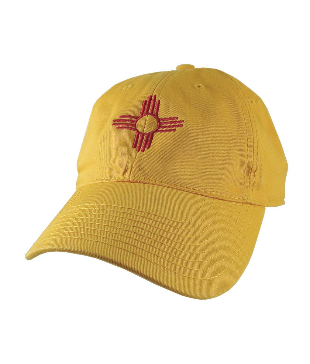 New mexico state flag symbol red embroidery design on an new mexico state flag symbol red embroidery design on an adjustable sun yellow unstructured classic baseball cap dad hat buycottarizona