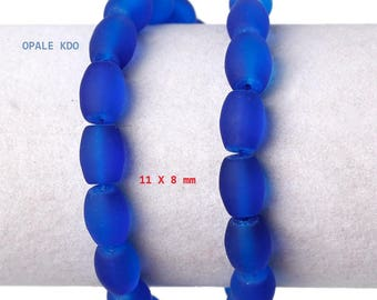 Set of 10 blue frosted glass beads 11 x 8 mm
