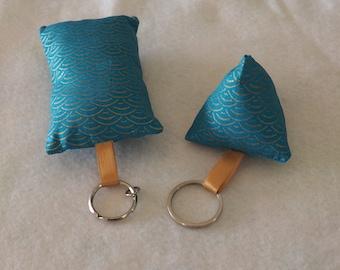 2 matching fabric key chain