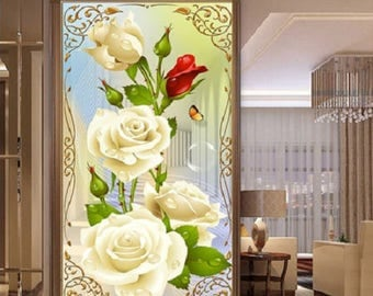 """Red and White Roses"" 5 d diamond painting Kit"