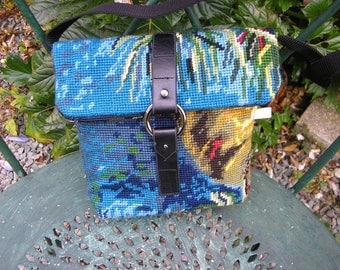 Multicolored recycled canvas shoulder bag