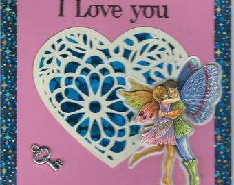 card 3D couple Elf on cut out heart