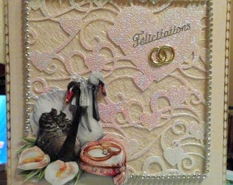 card 3D couple of swans with ring bearer cushion