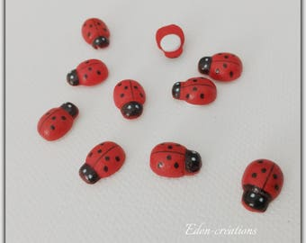 Set of 10 ladybugs wooden 13 * 9 mm adhesive pad on the back