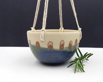 Ceramic Hanging Planter. Modern Planter. Blue Planter. Handmade Planter. Gift for Her. Plant Pot. Indoor Garden